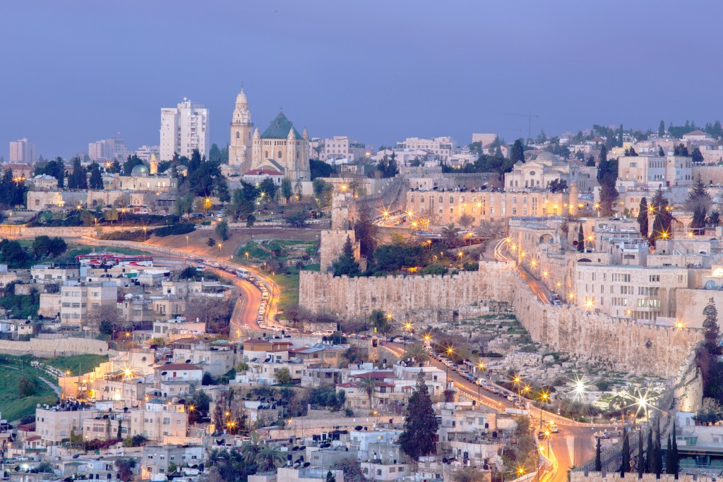 Jerusalem - Outlook from Mount of Olives to Dormition abbey an